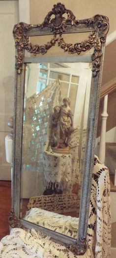 Antique French Blue and Gold Gilt Mirror with Barbola Swag Stunning | eBay