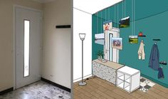 Design an open entrance to the living room without partitioning - Create an entry . Contemporary Home Offices, My House Plans, Vestibule, Home Staging, Mudroom, Entrance, Cool Designs, Sweet Home, House Design
