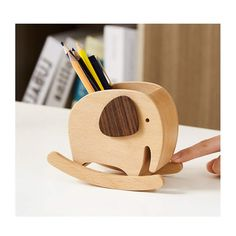 Pencil Holder, Pen Holders, Wooden Elephant, Wood Sizes, Decorative Storage, Office Organization, Office Gifts, Fun Learning, Woods