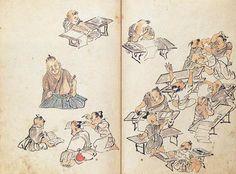 江戸時代の寺子屋(てらこや)の様子を描いた図。子どもたちが読み書きやそろばんなどを習っています。先生は、武士や医者、僧侶(そうりょ)などの大人でした。習字の墨をする子ども、本を読む子ども、けんかをする子どもも描かれています。寺子屋は、江戸や京都から次第に全国各地へ広がっていきました。読み書きそろばんの知識は、文化の広がりを後押ししました。江戸時代の文化を支えたのは、こうした庶民の力だったのです。