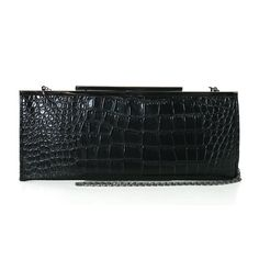 """Fashion Metallic Croc Embossed Framed Flat Evening Cocktail Party Clutch Handbag Purse in Black. Measures Approx: 5.5"""" X 0.5"""" X 13.5"""". Quality Vinyl Crocodile Embossed Exterior. Metal Clasp Closure. Interior Compartment and Fabric Interior Lining. With Detachable cahin Shoulder Straps."""