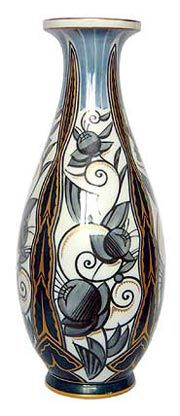 Art Deco Sevres   hand painted vase - notice how flowers and birds are very round and not too frilly/detailef