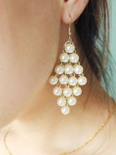 Gold Pearls Tassel Dangle Earrings