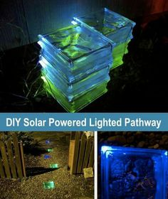 In ground lighted garden pathway from glass blocks
