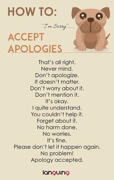 เรียนภาษาอังกฤษ ความรู้ภาษาอังกฤษ ทำอย่างไรให้เก่งอังกฤษ Lingo Think in English!! :): ประโยคภาษาอังกฤษน่ารู้เกี่ยวกับการตอบรับคำขอโทษ