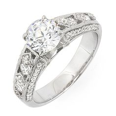 Antique Style Certified Diamonds Anniversary Ring 14k White Gold 1.65 Carat #DiamondsByElizabeth #SolitairewithAccents