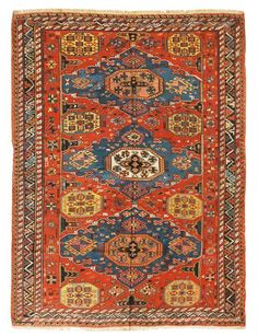 Antique Soumak Transitional Red and Blue Geometric Wool Rug Carpets, Rugs On Carpet, Square Rugs, Circular Pattern, Oriental Rugs, Persian Rug, Red And Pink, Wool Rug, Bohemian Rug