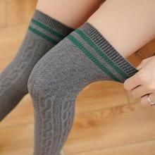 6828298486a New fashion fried dough twist Knit women Cotton Socks preppy style Over Knee  Long Socks students