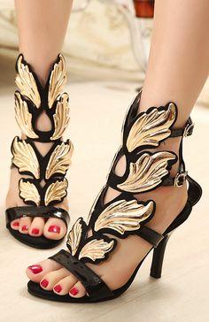 3ebc1ec4aa6b 2014 New summer GZ ladies sandals flat women shoes sexy black Wedding Wedges  Shoes women gold leaf flame wings shoes