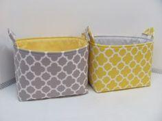 Yellow Canvas Storage Boxes