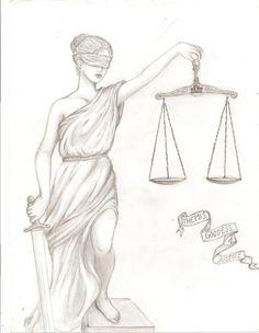 Древнегреческая богиня правосудия Фемида, которая будет красоваться на моем правом предплечье, дополняя рукам, делая его целостной композицией.