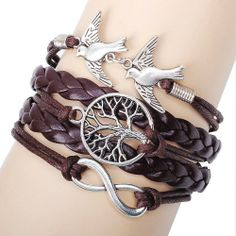Unique Life Tree Pigeons Infinity Bracelet represent the life and peace and love.