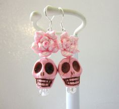 Day Of The Dead Earrings Sugar Skull Dangle by sweetie2sweetie, $8.99