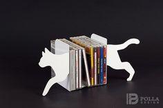 Podpórka do książek KOT biały - PollaDesign - Dekoracje