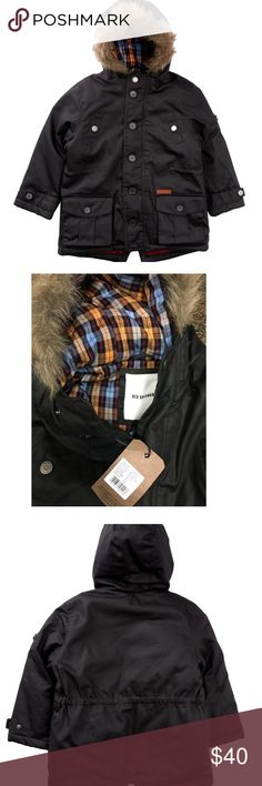 """Ben Sherman Faux Fur Button Up Jacket 14Y Youth 14-15 year old is the size.  See measurements. - Attached hood with faux fur trim - Long sleeves  - Front button closure - Front slip pockets with snap button closure and flap button pockets  Shell: 100% cotton Faux Fur Shell: 60% acrylic, 40% polyester Faux Fur back: 100% polyester Lining: 100% cotton  Machine wash Chest : 42"""" length is 25"""" sleeve length from end of shoulder to cuff is 23""""  I wear a size M/L and I can wear this jacket however…"""