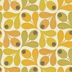 Retro Orla Kiely Olive print in lemon lime.