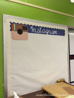 Great for a hallway bulletin board! Whole school can check your class out (including parents)! Post your pictures throughout the school year- I love this idea for a bulletin board that will not ever need to be changed! Just keep on adding pics! Classroom Bulletin Boards, Classroom Design, Classroom Displays, Future Classroom, Classroom Themes, School Classroom, Classroom Organization, Instagram Bulletin Board, Bulletins