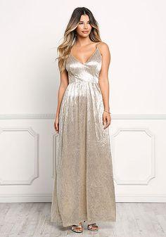Gold Metallic Cross Strap Maxi Gown