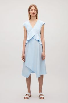 6223d6ed397 COS image 6 of Draped cap-sleeve dress in Sky Blue Spring Dresses