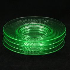 Vtg Imperial Twisted Optic Green Depression Glass by charmings, $42.00