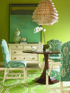 Turquoise blue ikat outdoor fabric is perfect in this lime green room!