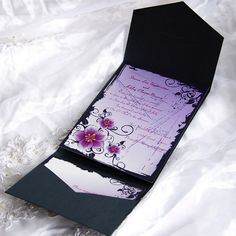 Romantic purple floral pocket wedding invitation EWPI006 as low as $1.69