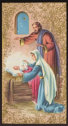 Vintage CHRISTMAS CARD Unused Mid-Century Baby JESUS Mary and Joseph Star MANGER