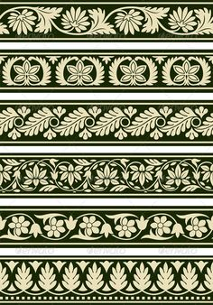 Buy Indian Floral Borders by pvg on GraphicRiver. A series of floral borders based on East Indian patterns. Border Pattern, Border Design, Pattern Art, Vector Pattern, Border Embroidery Designs, Embroidery Patterns, Damask Decor, Indian Patterns, Floral Border