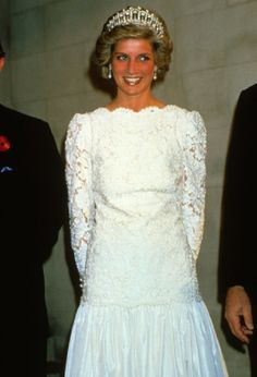 Diana, Princess of Wales, attends a dinner in Washington DC hosted by the British Ambassador Sir Oliver Wright . Princess Diana is wearing a dress by Murray Arbeid. Her tiara was a wedding present from the Queen.