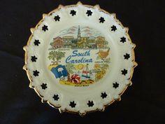 Vintage South Carolina Souvenir Plate Gold Trim by WindChimeGirl, $14.00