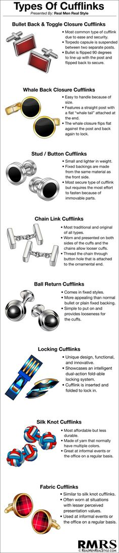 Types Of Cufflinks #cufflink #infographic #menstyle