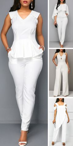 Upgrade your wardrobe and try new styles this year. White V Neck Sleeveless Peplum Jumpsuit Summer Fashion Modest Modest Summer Fashion, Jumpsuit Outfit, Pants For Women, Clothes For Women, Jumpsuits For Women, Curvy Fashion, African Fashion, Casual Outfits, Fashion Dresses