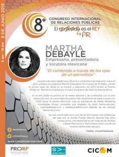 Martha Debayle. @marthadebayle locutora de radio y conductora de televisión. Empresaria Editorial. Presente en #8CongresoPRORP