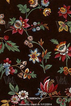 diseño floral textil. Francia, siglo 19