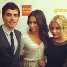Pretty Little Liars stars Ian Harding, Shay Mitchell, and Ashley Benson backstage at GLAAD Awards