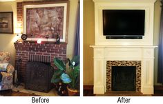 Before and after pictures brick fireplaces | ... custom fireplace surround by refacing the existing brick fireplace