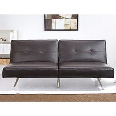 Abbyson Living Aspen Espresso Brown Leather Futon Sleeper Sofa Bed