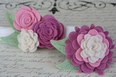 Felt Flower Headband and Clip Sister Set  Pink by ClairesFlair, $18.75