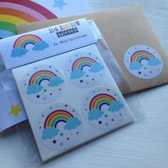 24 large glossy rainbow stickers to add to party bags, letters, invites, parcels and gifts!Send a rainbow someones way today with these gorgeous gift wrapping or party bag stickers! Each sticker is 45mm across and looks great stuck to anything intended to bring a smile! Stickers are packaged in a cello wrap and have a tab top header stitched shut with white cotton thread. Your stickers will be posted out in a hard backed envelope to ensure a safe arrival. All designs are © halfpinthome ...