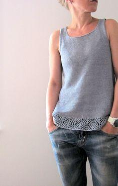 Ravelry: Lilalu's Aila Waking Tide Sweater Pattern by Courtney Spainhower, Lace knitting pattern Sweater Knitting Patterns, Lace Knitting, Knitting Designs, Crochet Patterns, Summer Knitting, Crochet Summer, Vest Pattern, Summer Tops, Summer Vest