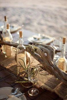 Seaside driftwood table setting