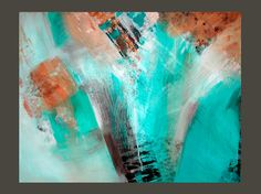 Original LARGE Abstract Painting Modern Contemporary Art Turquoise Aqua Teal Dark Brown LindaSuzStudios. $375.00, via Etsy.