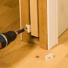 Install guides for pocket door, will add tons of space to an unused conner of future shared room