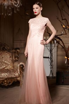 blush shimmer sequins and beads detailed floor length sheath lace prom dress