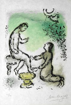 Marc Chagall -  Odyssey II. Ulysses and Euryclea -  Original lithograph, 1975 -  Signed by the artist in pencil