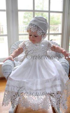 Silk and Cutwork Lace Christening dress, Christening gown, baby girl c Lace Christening Gowns, Baptism Gown, Christening Outfit, Blessing Dress, Baby Girl Baptism, First Communion Dresses, Dresses Kids Girl, Silk Dress, Diy Crafts