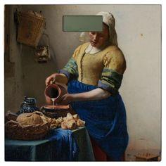 #JOHANNES VERMEER - The milkmaid 1658 Bathroom Scale - #Bathroom #Accessories #home #living