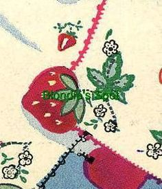 Vogart 168 Strawberry edgings for table clothes. A 1950s crochet pattern with hand embroidery detail.