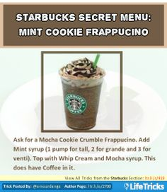 Starbucks Secret Menu: Mint Cookie Frappuccino