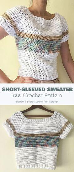Blouse Au Crochet, T-shirt Au Crochet, Pull Crochet, Mode Crochet, Crochet T Shirts, Crochet Woman, Crochet Clothes, Crochet Shawl, Crochet Style